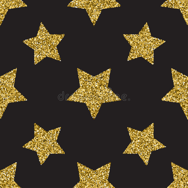 Seamless pattern with gold glitter textured stars on the dark background royalty free illustration