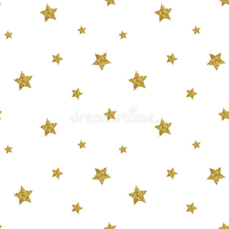 Seamless pattern with gold glitter textured stars. Vector royalty free illustration