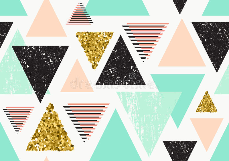 Seamless pattern with gold glitter triangles. royalty free stock photography