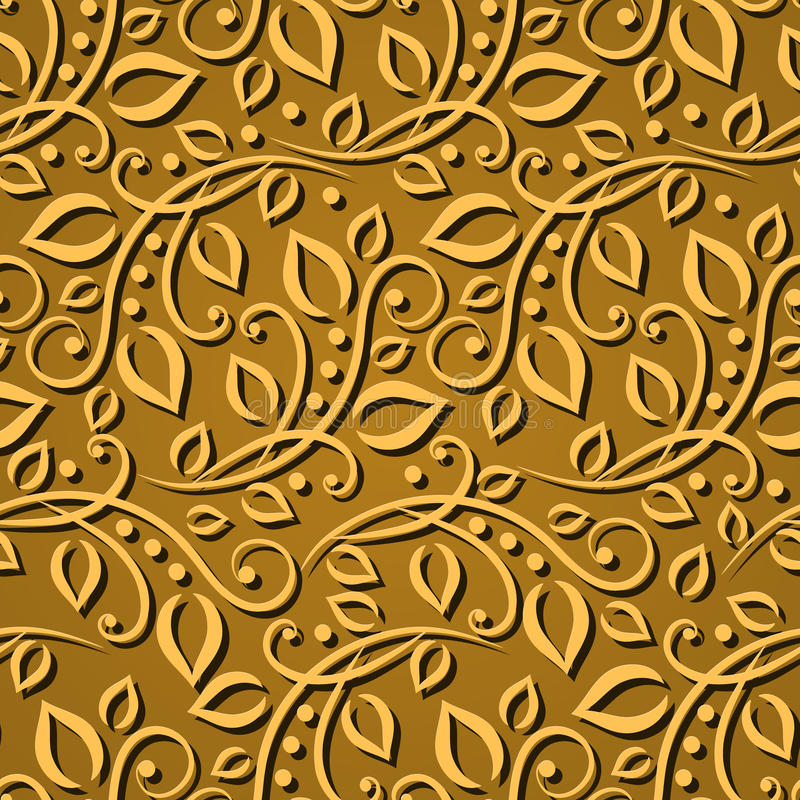 Seamless pattern gold leaves. Elegant texture for wallpapers, backgrounds and page fill. 3D elements with shadows and highlights. stock illustration