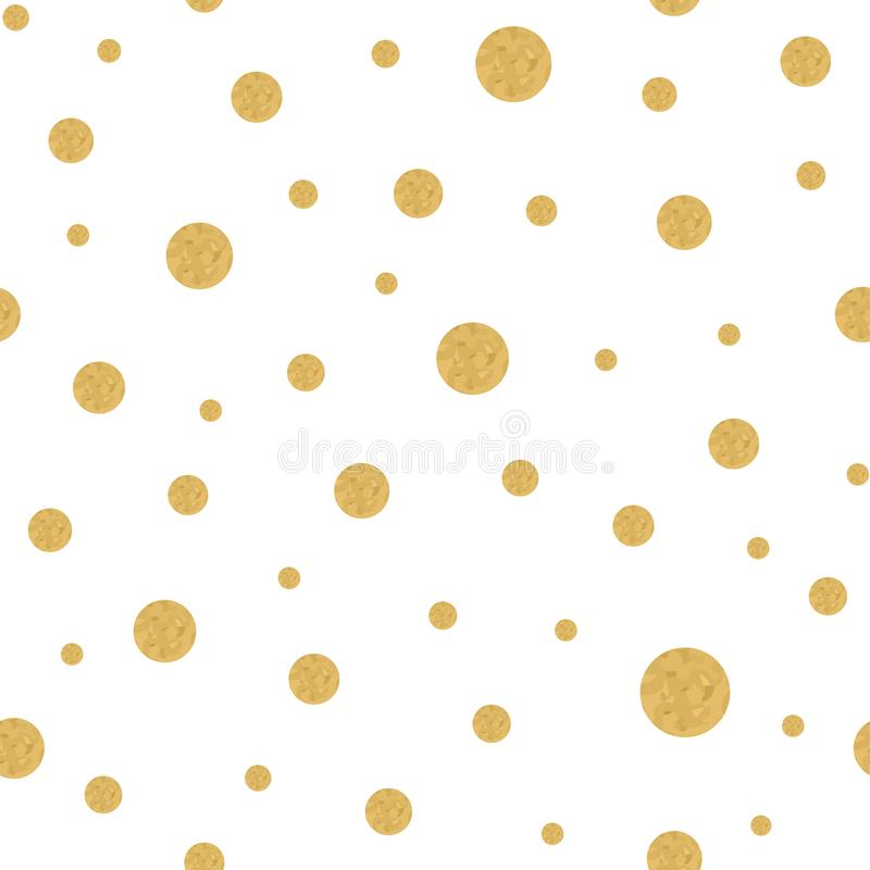 Seamless pattern with gold polka dots texture on white Vector repeated background vector illustration