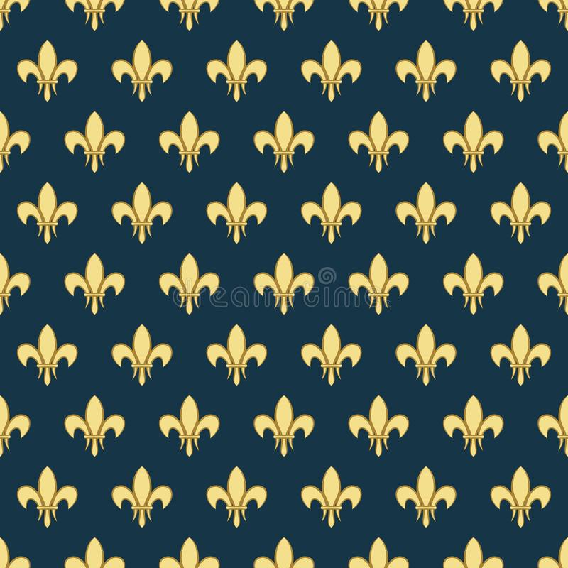 Seamless pattern with a gold royal lily called a fleur-de-lis on a dark background. Vector heraldic ornament. Usable for stock illustration
