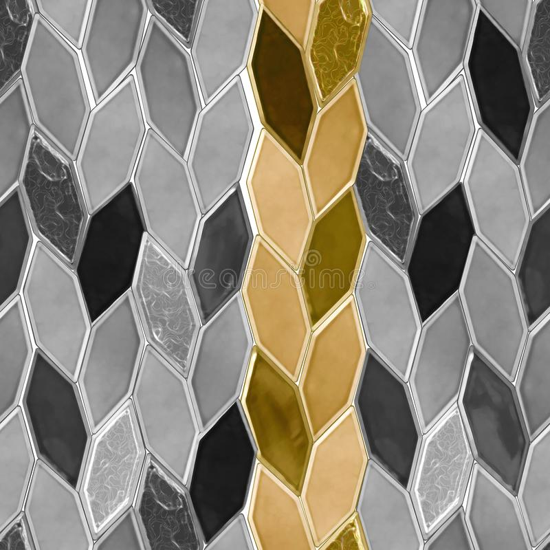 Seamless pattern of gold and silver tiles. Bright trendy background. royalty free illustration