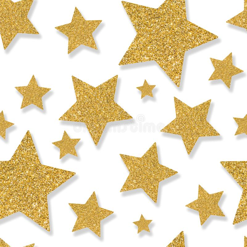 Seamless pattern with gold stars of sequin confetti. Glitter pow. Der sparkling background stock photo