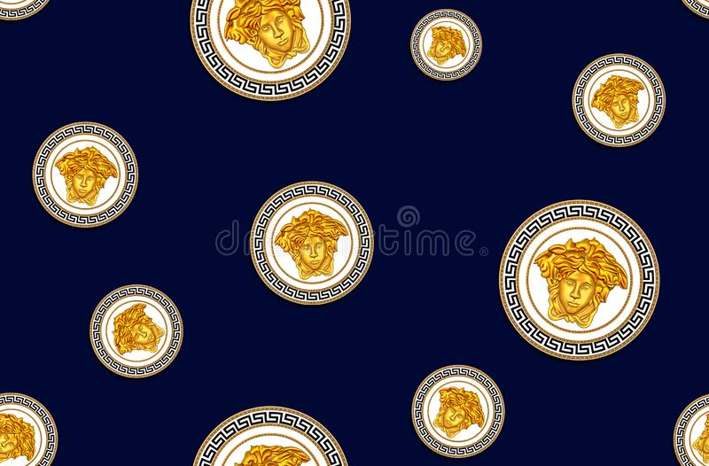Seamless Pattern of Golden Antique Decorative Versace Motif on Dark Blue Background. Fabric Design Background Ready for Textile Pr. Int royalty free illustration