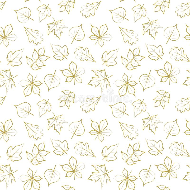Seamless pattern with golden autumn leaves royalty free illustration