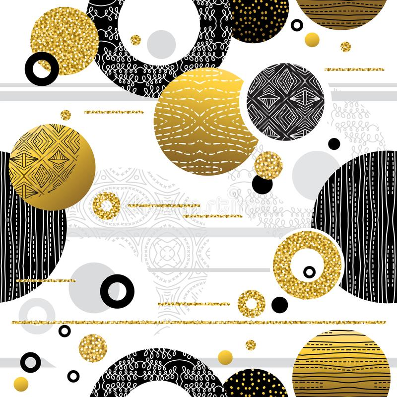 Seamless pattern with Golden and black glittering decorative ornate. Modern Seamless pattern. Repeatable geometric design. Can be stock illustration
