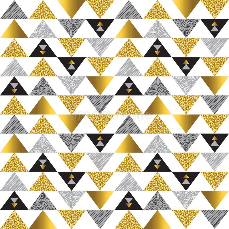 Seamless pattern with golden and black glittering triangles. Gold geometrical repeatable pattern. Can be used for fabric, scrap. Booking, wallpaper, web stock illustration
