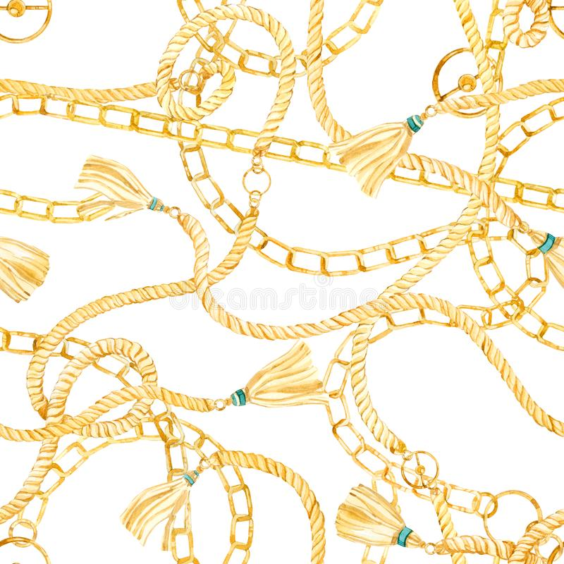 Seamless pattern golden chain and ropes glamour illustration in a watercolor style royalty free illustration