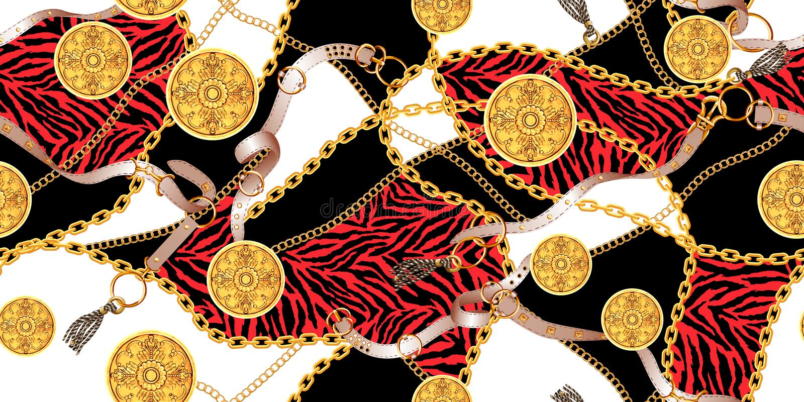 Seamless pattern with golden chains and belts, zebra skin vector illustration