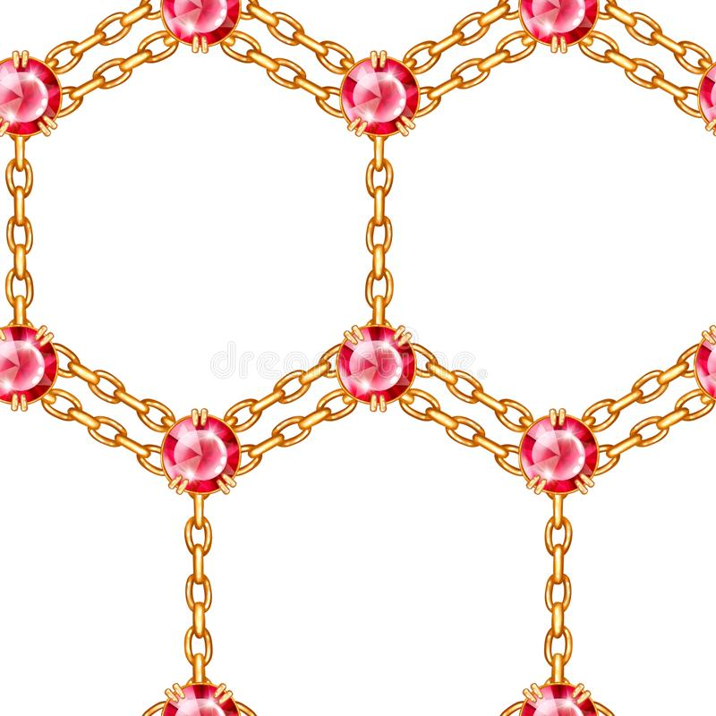 Seamless pattern of golden chains and ruby. Realistic illustration isolated on white background vector illustration
