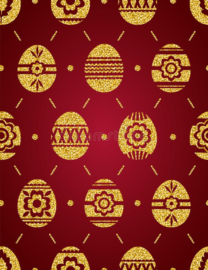 Seamless pattern of golden Easter eggs isolated on red background. Gold Easter Eggs decorated with flowers. Print design, label, vector illustration