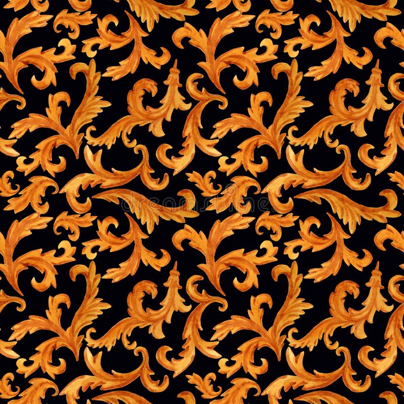 Seamless pattern of golden elements of baroque rococo style isolated on background vector illustration
