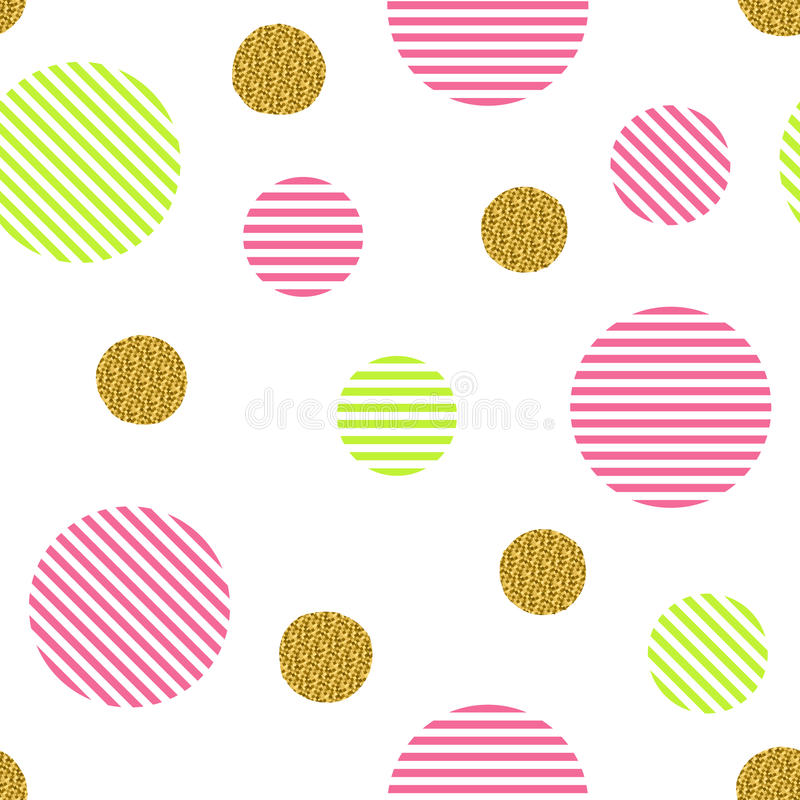 Seamless pattern with golden glitter circles and colored stripes vector illustration