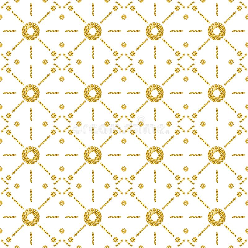 Seamless pattern with golden glittering circles. Gold Seamless pattern. Repeatable design. Can be used for fabric, scrap booking,. Wallpaper, web background royalty free illustration