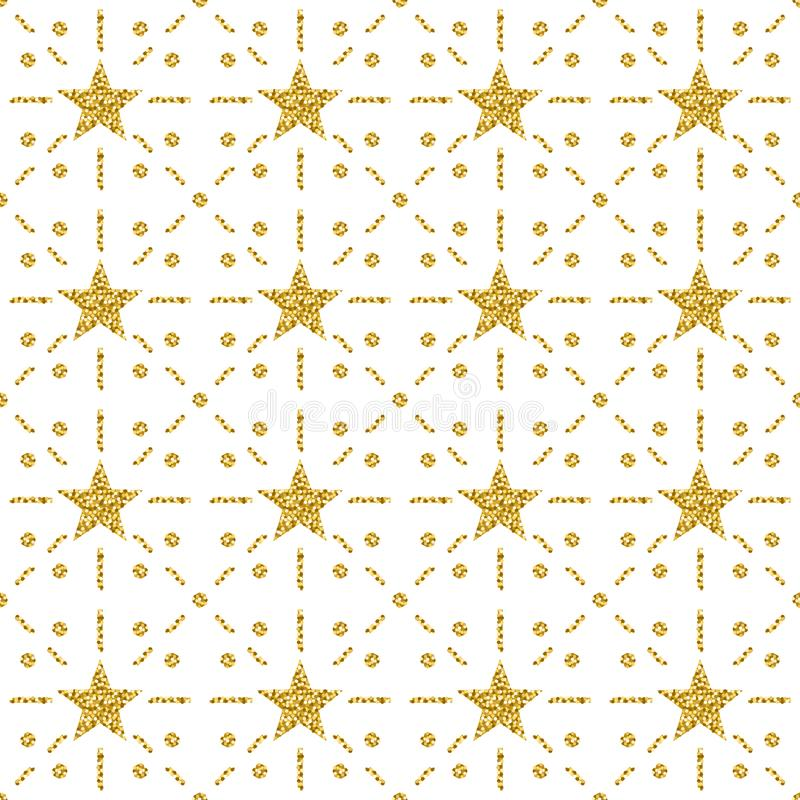 Seamless pattern with golden glittering stars. Gold Seamless pattern. Repeatable design. Can be used for fabric, scrap booking,. Wallpaper, web background vector illustration