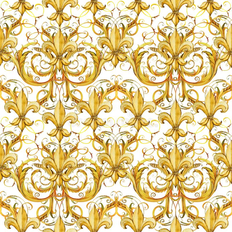 Seamless pattern golden lace. watercolor floral jewelry design. royalty free illustration