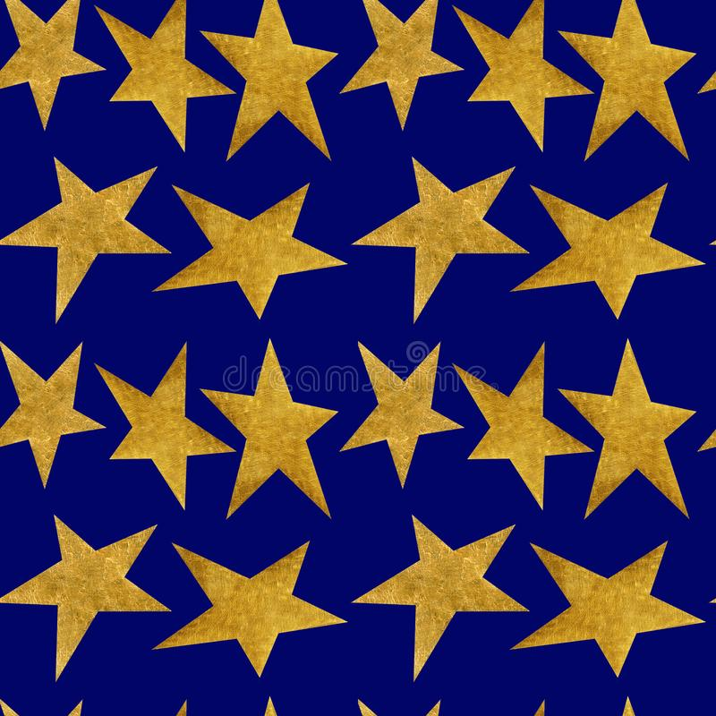 Seamless pattern with golden metallic stars on a night blue sky background vector illustration