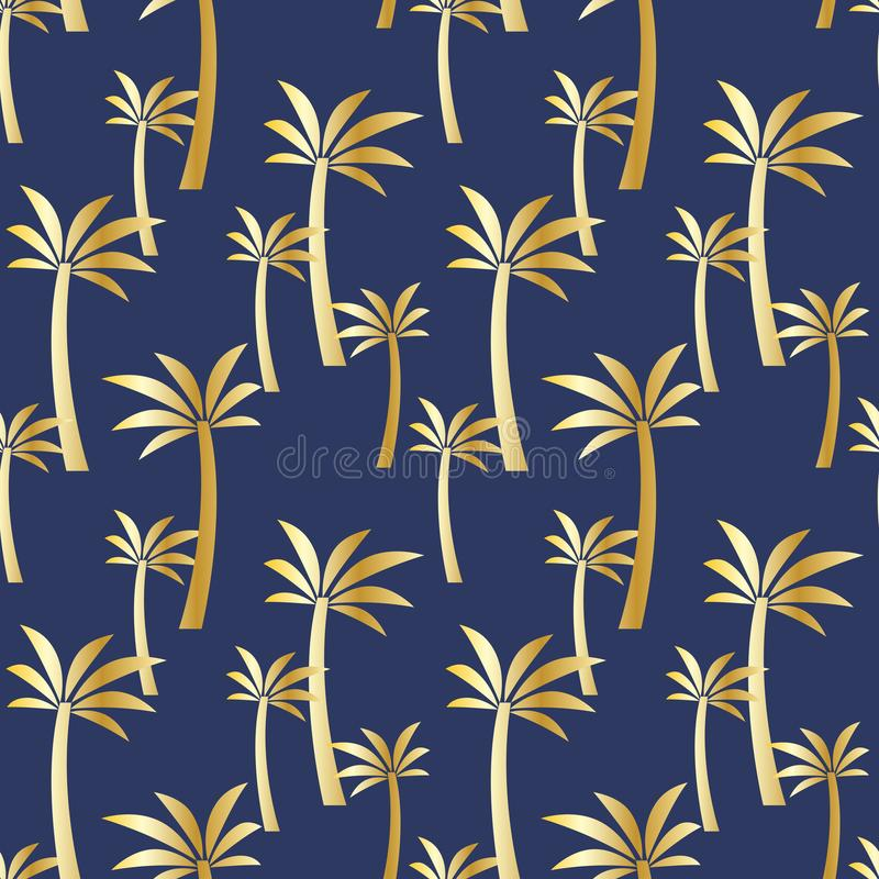 Seamless pattern with golden palm trees on a blue background. Colorful illustration royalty free illustration
