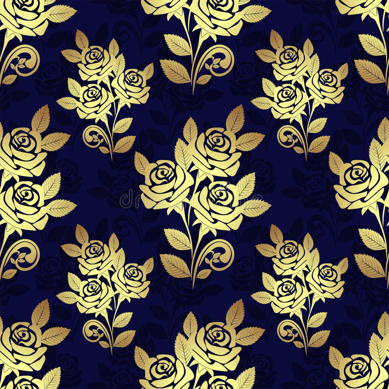 Seamless pattern with golden Roses on blue royalty free illustration