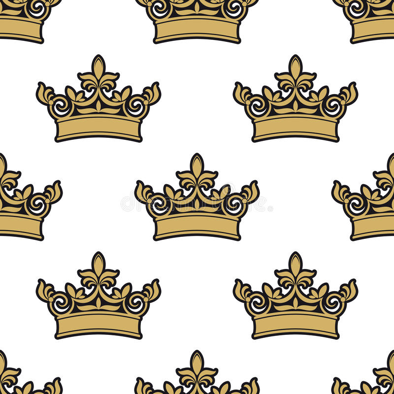 Seamless pattern of golden royal crowns royalty free illustration