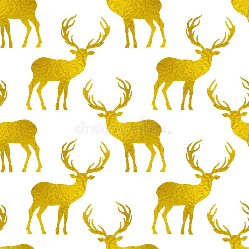 Seamless pattern with golden silhouettes of deer royalty free illustration