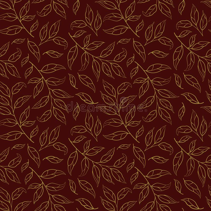 Seamless pattern with golden silhouettes of leaves and branches on dark red background. stock illustration
