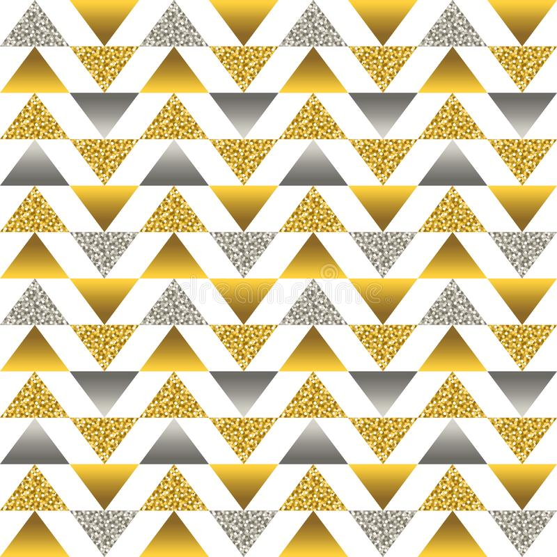 Seamless pattern with golden and silver glittering triangles. Gold geometrical repeatable pattern. Can be used for fabric, scrap. Booking, wallpaper, web royalty free illustration