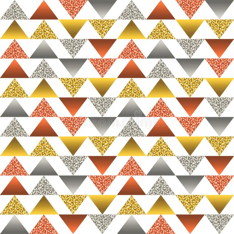 Seamless pattern with golden and silver glittering triangles. Gold geometrical repeatable pattern. Can be used for fabric, scrap. Booking, wallpaper, web stock illustration