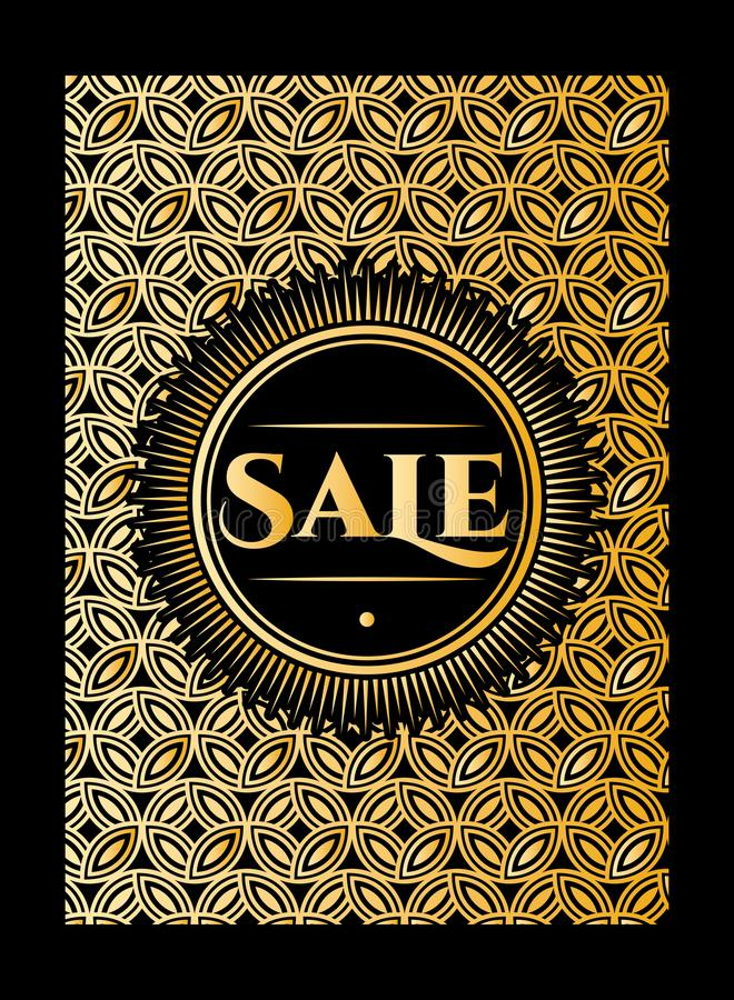 Seamless pattern of golden stylish background in retro style for sale or discount on black background. Vector color illustration.  stock illustration