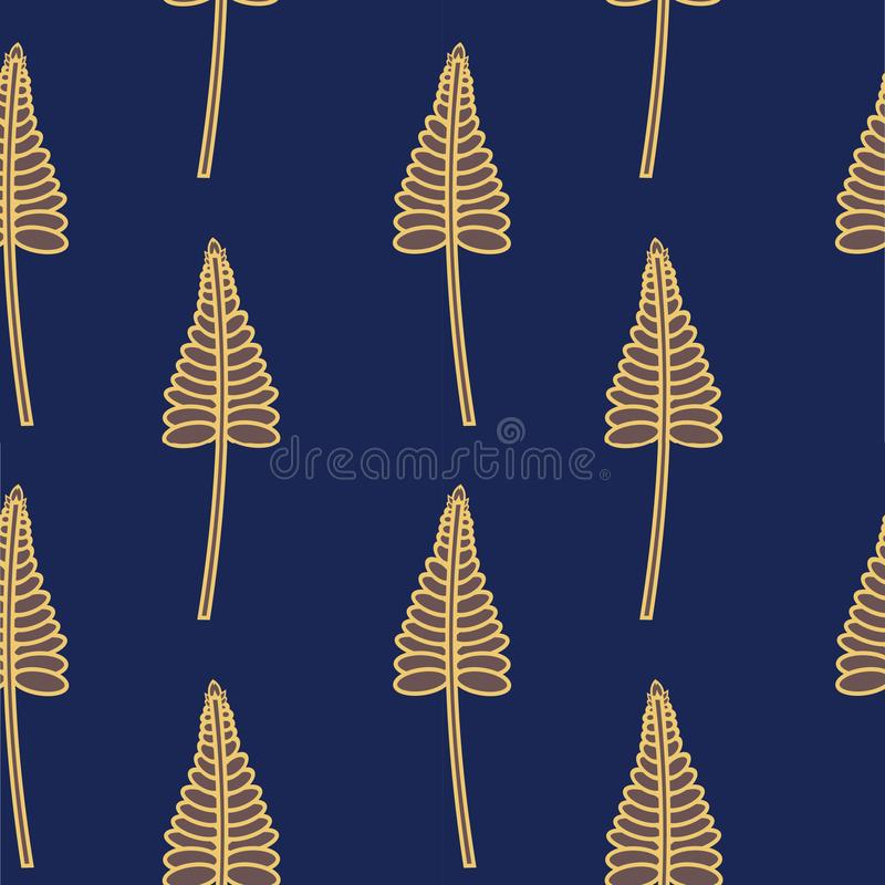Seamless Pattern Of Golden Stylized Leaves on Navy Blue Background. Modern Textile, Fabric stock illustration