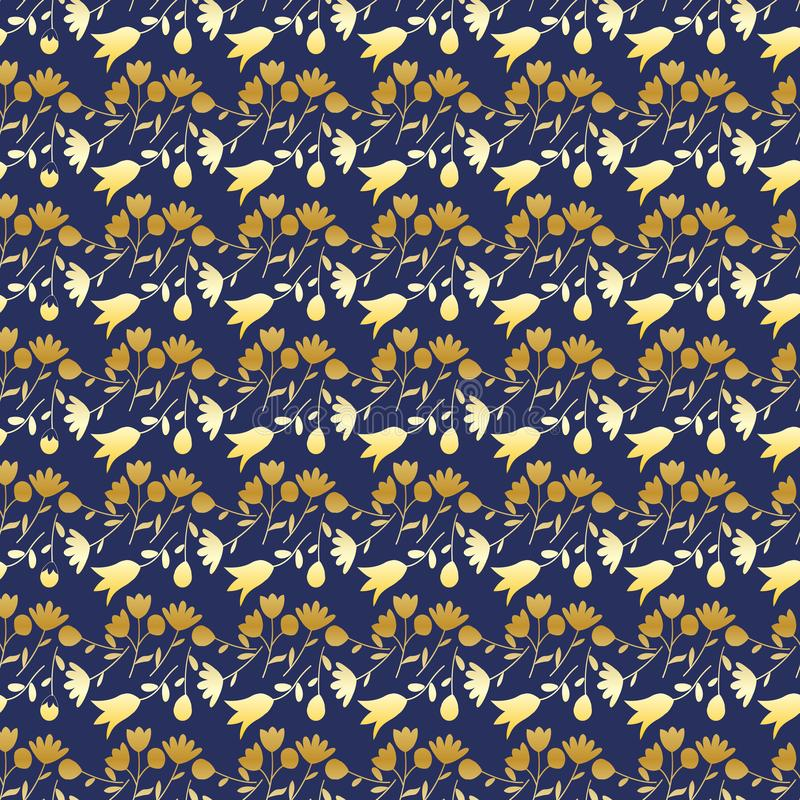 Seamless pattern with golden wildflowers on a blue background. Summer floral background. royalty free illustration