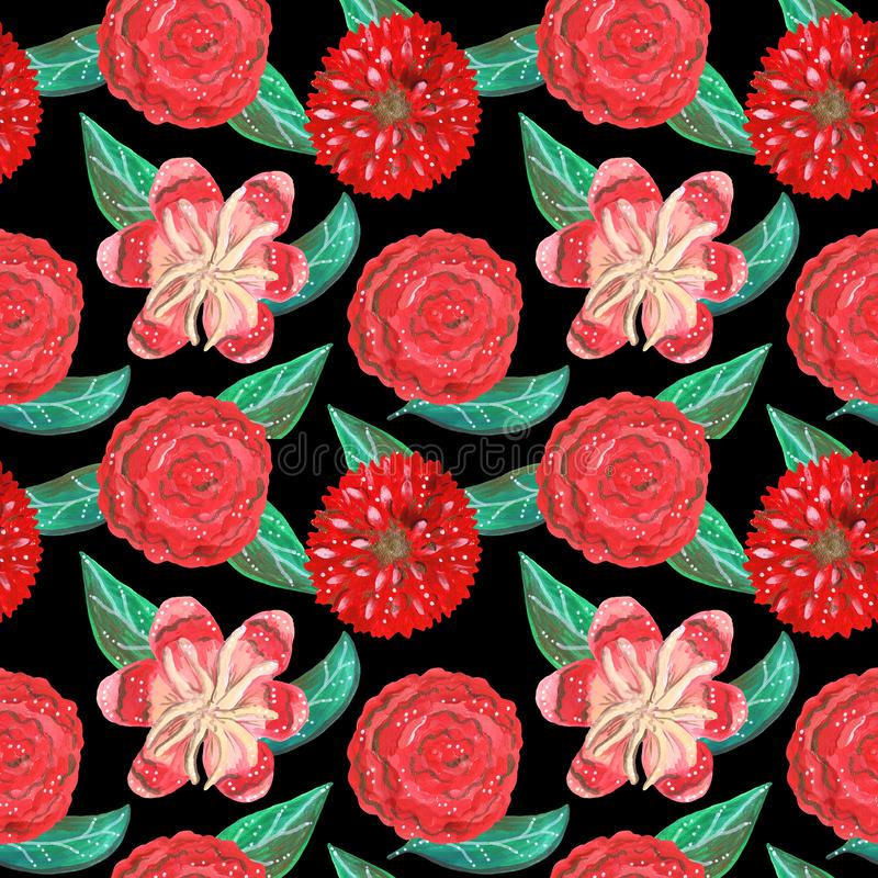 Seamless pattern of gouache red ornamental tropical and mexican flowers and green leaves royalty free stock photography