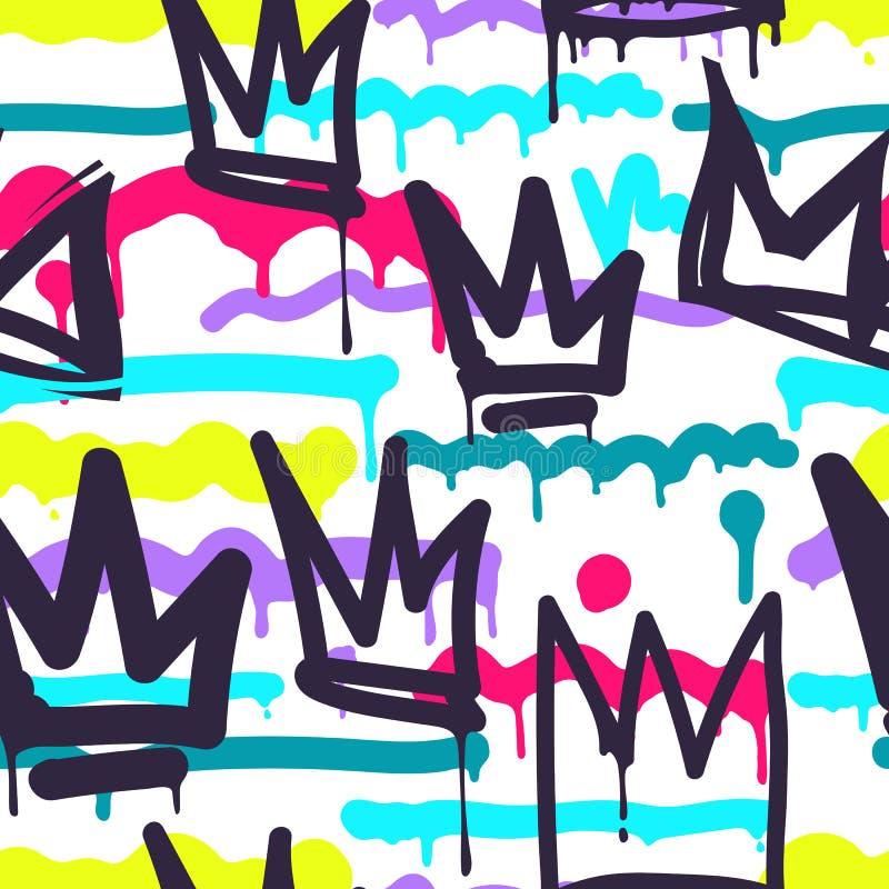 Seamless pattern graffiti stock illustration
