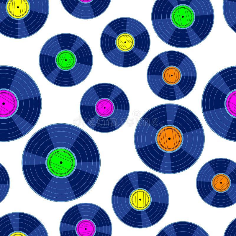 Gramophone record disk pattern. Seamless pattern of the gramophone record disks vector illustration