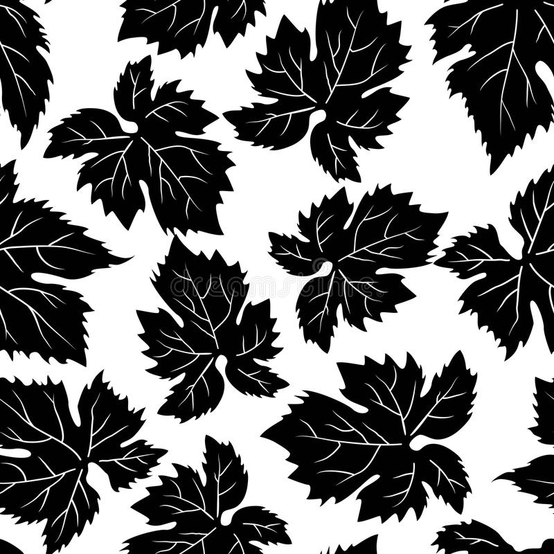 Seamless pattern with grape leafs royalty free illustration