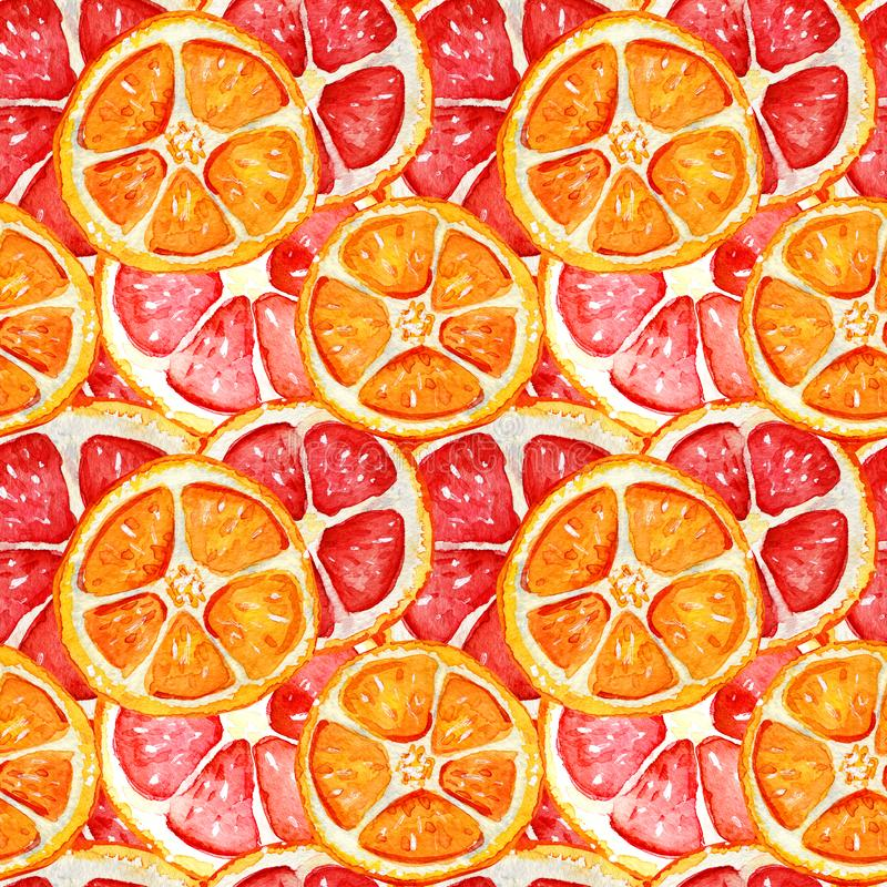Seamless pattern with grapefruit and orange vector illustration