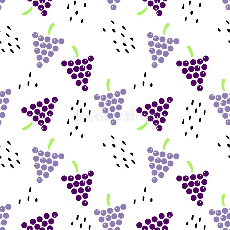 Seamless pattern with grapes and seeds. royalty free illustration