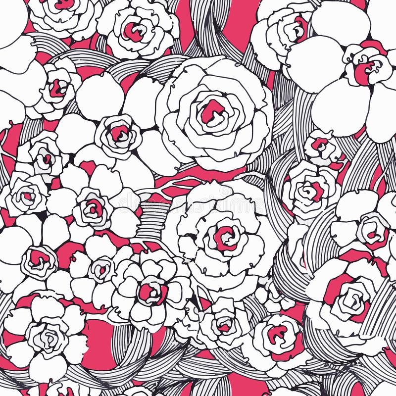 Seamless pattern graphic spring flowers. Black and white line and pink color. Hand drawing in modern style. Trendy design for. Product packaging, textiles vector illustration