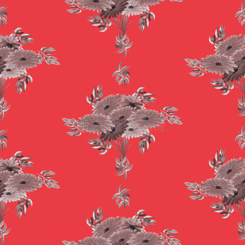 Seamless pattern of gray flowers and leaves on a red background. Geometric. Watercolor royalty free stock photos