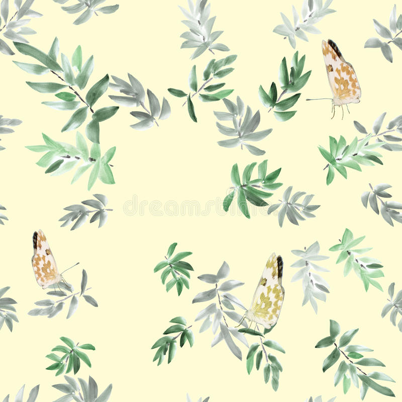 Seamless pattern gray and green leaves with three butterflies on a yellow background. Watercolor stock images