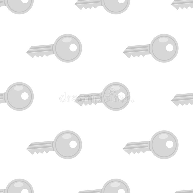 Gray Small Key Flat Icon Seamless Pattern. A seamless pattern with a gray or grey key flat icon, isolated on white background. Useful also as design element for royalty free illustration