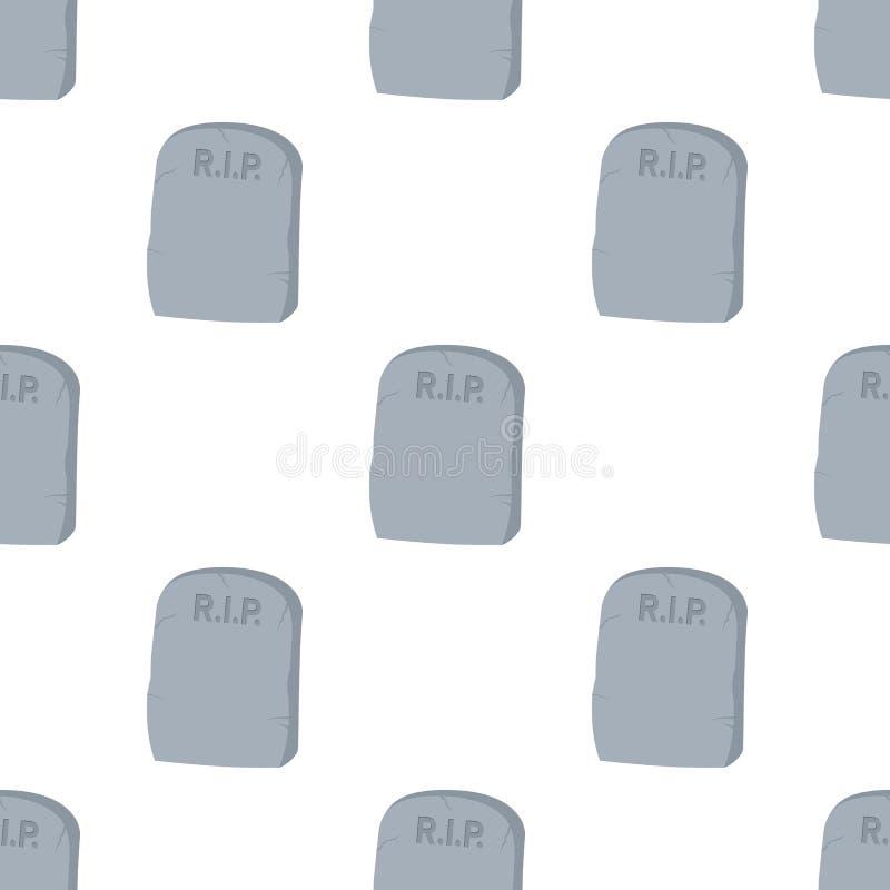 Tombstone Flat Icon Seamless Pattern royalty free illustration