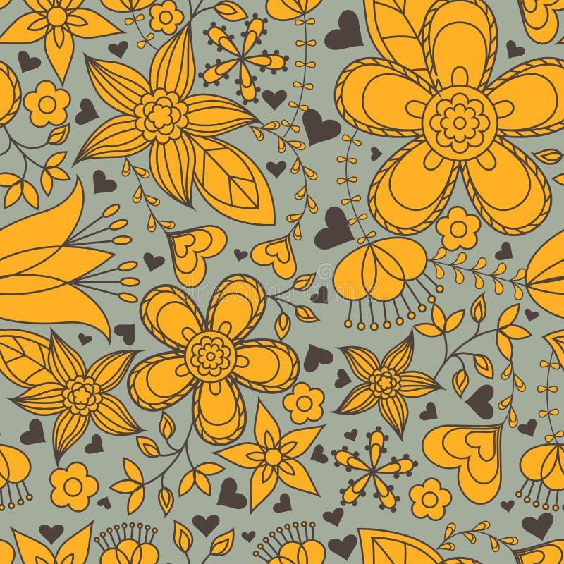 Seamless pattern gray and orange heart flowers. Vector seamless pattern gray and orange heart flowers stock illustration