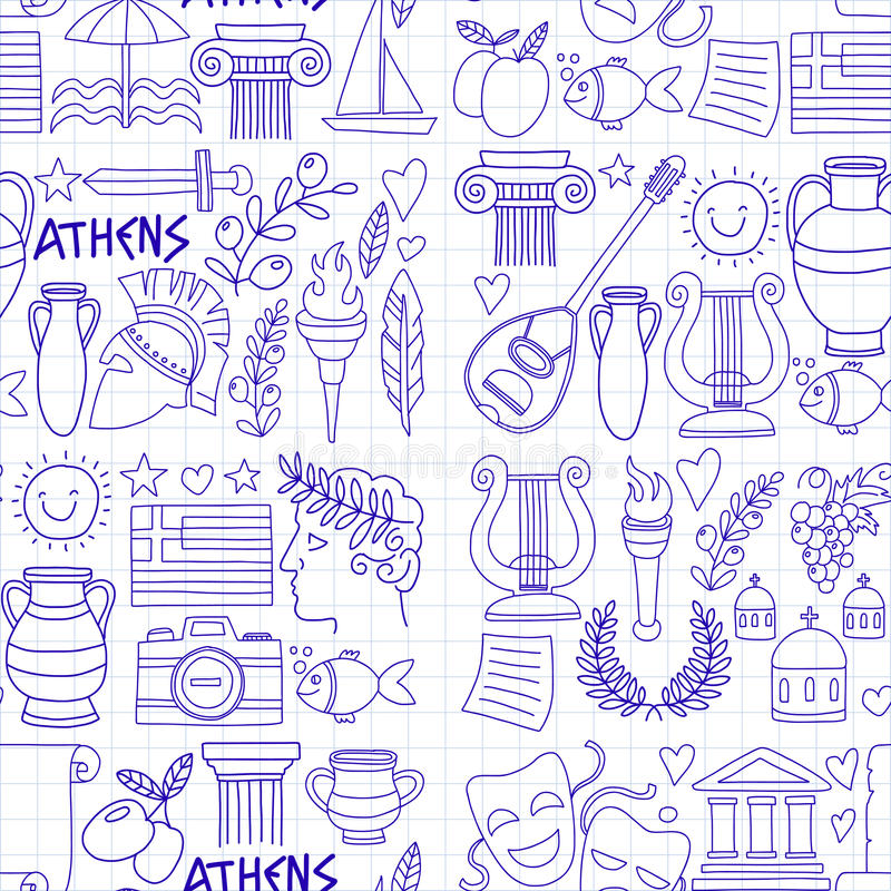 Seamless Pattern Greece travel Doodle icons, elements Sea, sculpture vector illustration