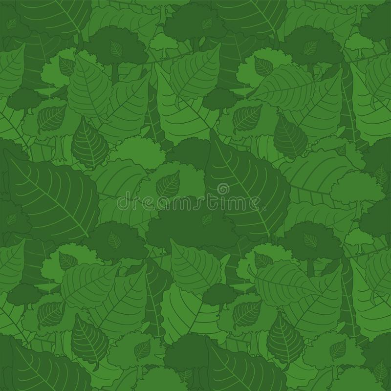 Seamless pattern, green camouflage poplar leaves for fabrics, Wallpapers, tablecloths, prints and designs. Abstract background stock photography