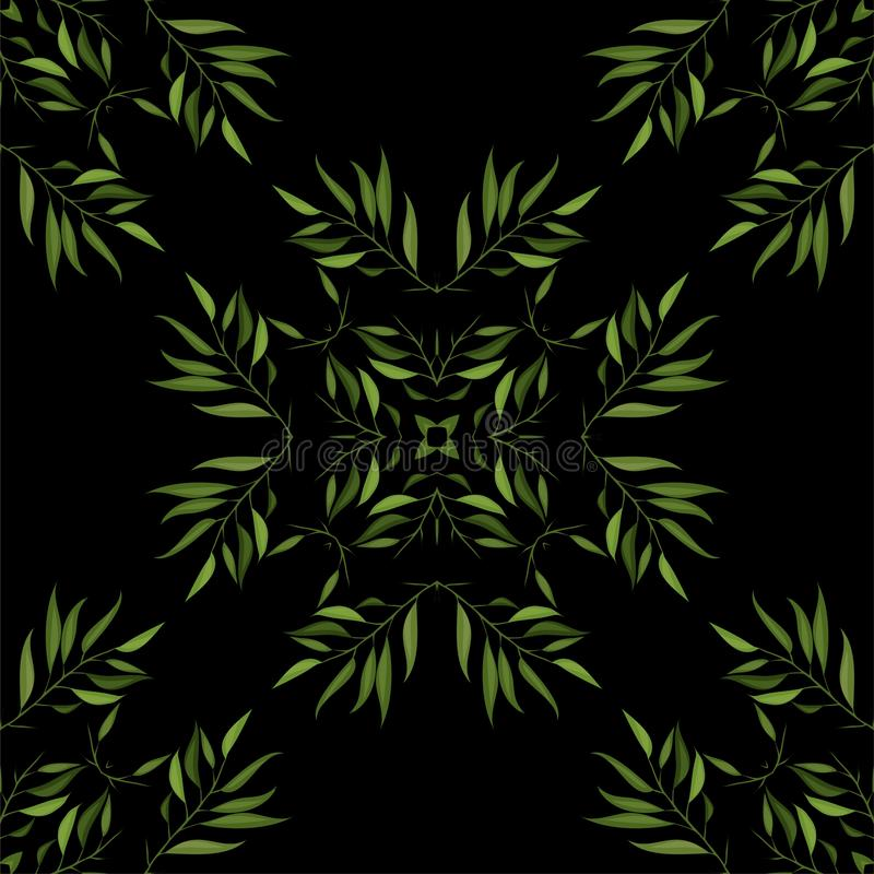 Seamless pattern of green cartoon leaves and twigs. Vector. Eps 10 stock illustration