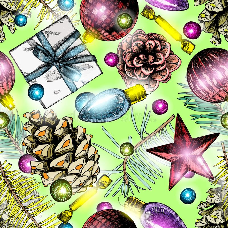 Seamless pattern with green Christmas tree twigs and shiny winte stock illustration