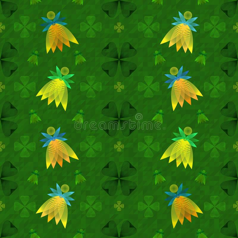 Seamless pattern for Patrick`s day with fairies royalty free illustration