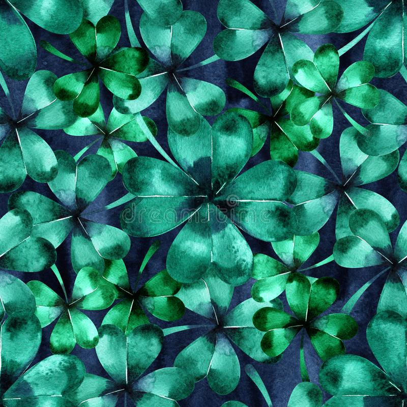 Seamless pattern with green clover trefoil leaves. Hand drawn watercolor background. Original painting. vector illustration